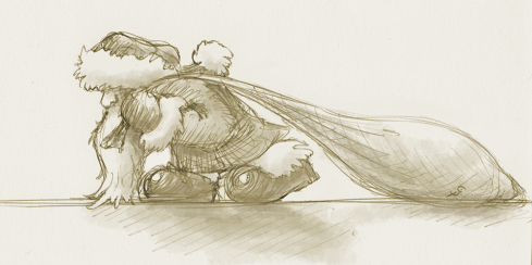 Biro sketch for a tired Santa character design.