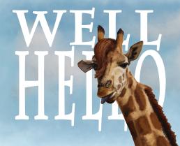 Digital painting of a suave giraffe.