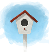 Digital painting of a bird house.
