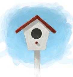 Digital painting of a bird house.