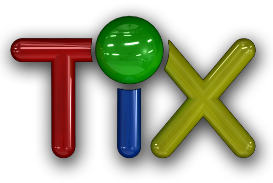 Text design for mobile game TiX. The game requires players to line up coloured balls vertically, horizontally and diagonally.